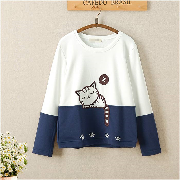 Cute cat embroidered sweater  PL21240