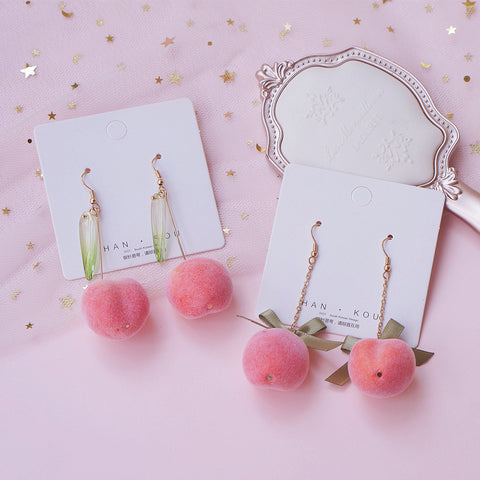 All-match peach earrings PL50563