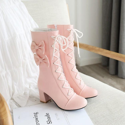 Lolita bow high boots PL21015