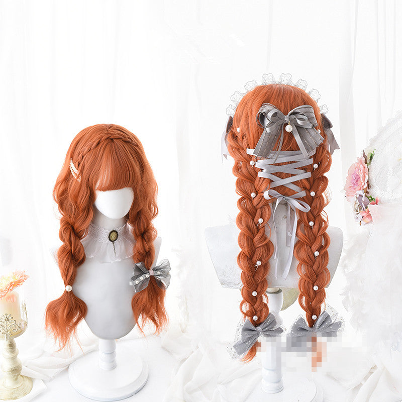 Lolita orange long roll wig PL20291