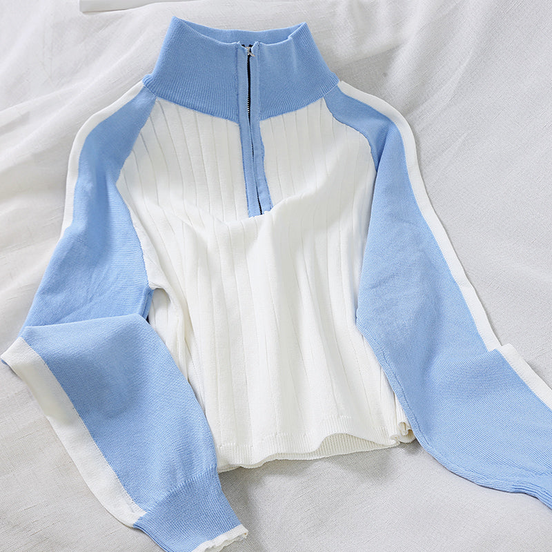 High-waist stitching knit T-shirt PL20849