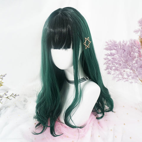 Green long curly wig PL50379