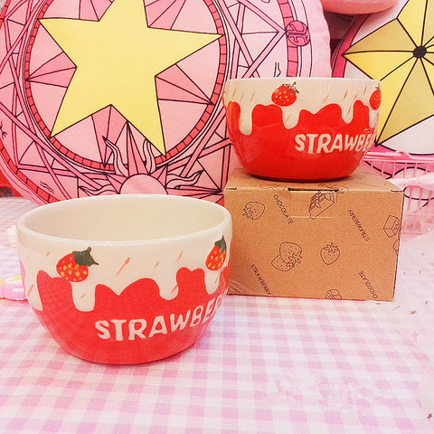 Ceramic strawberry dessert bowl PL40043