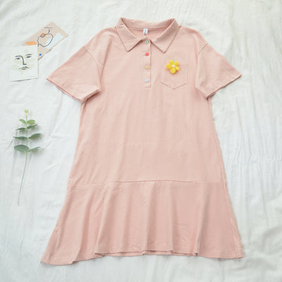 Lapel short-sleeved dress PL20625