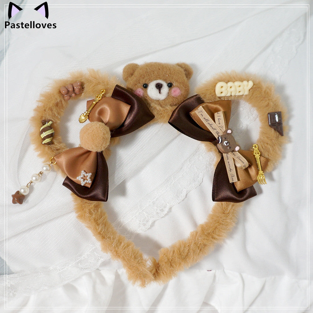 Super invincible cute furry bear ear band PL21008