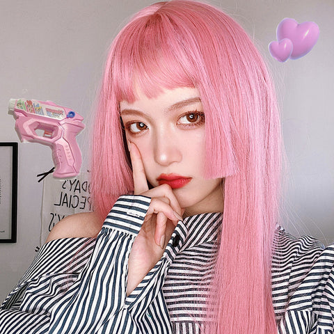 Pink long straight wig PL50472