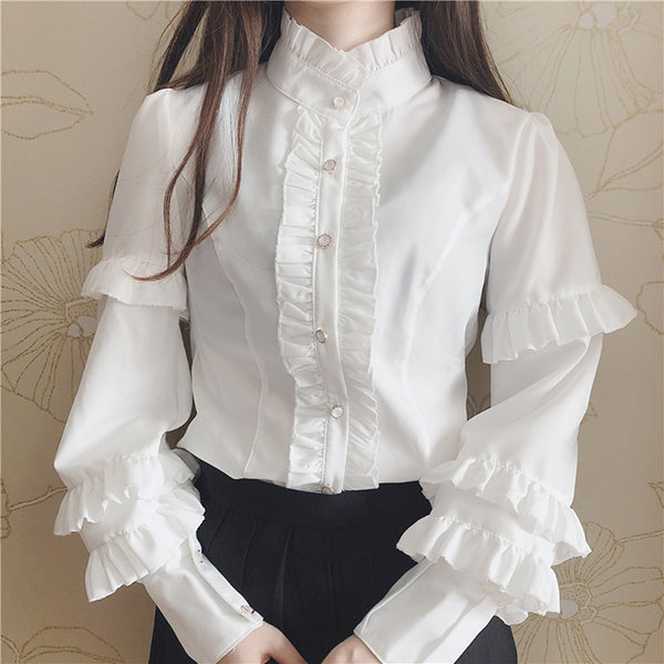 Lolita Lotus Leaf Lace Shirt PL10220