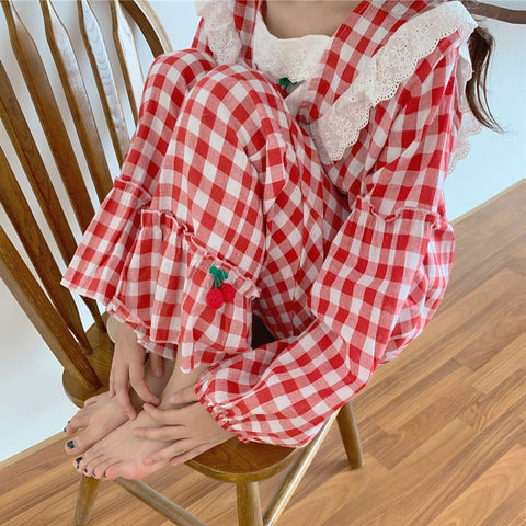 Lace Plaid Pajama Set PL21077