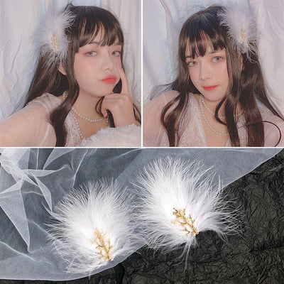 White Feather Hair Clip PL50137