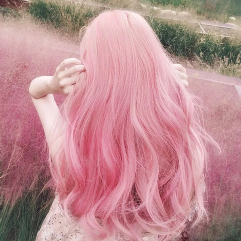 Pink long curly wig PL50693