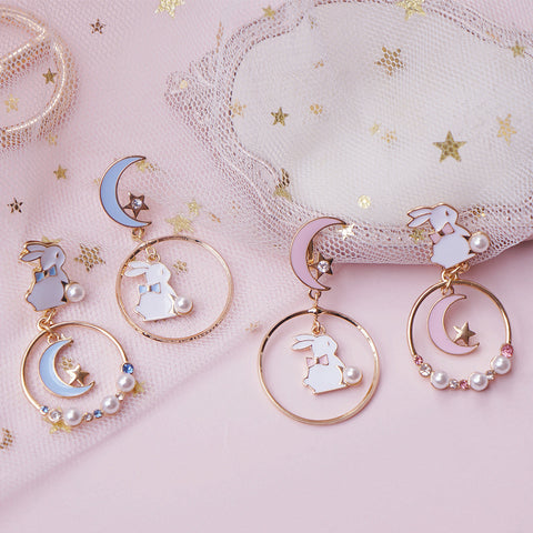 Cute Moon Rabbit Ear Studs PL50390