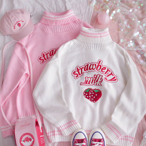 Strawberry embroidered turtleneck warm sweater PL20918