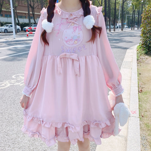 Lovely bow long sleeve dress PL51350