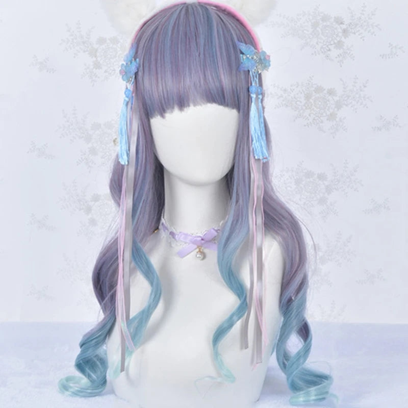 Blue purple long curly wig PL50554