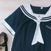 Cute embroidered navy collar shirt PL20468