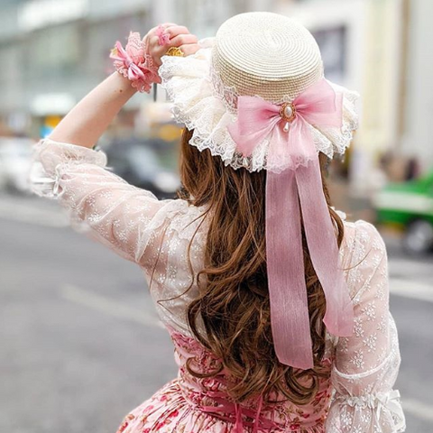 Lolita lace bow straw hat PL21188