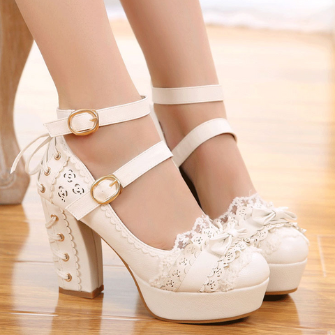Lace bow heels PL50132