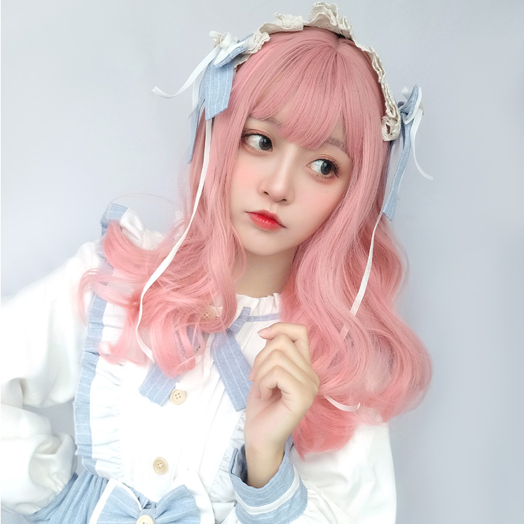 Cute pink long curly wig PL50321