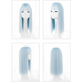 Blue long straight wig PL50492