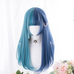 Blue long curly wig PL50572