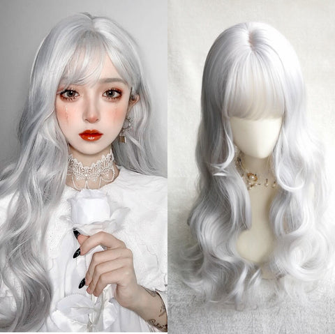 Silver long curly wig PL50703