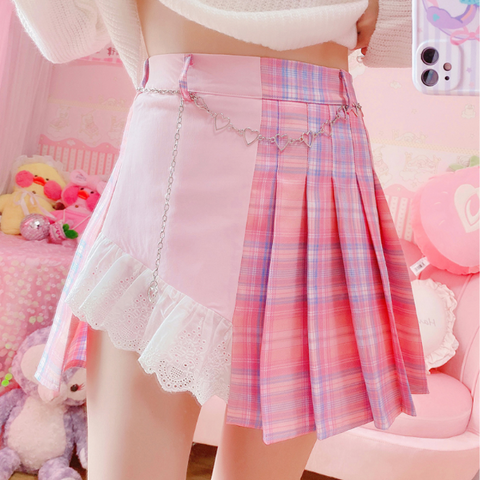 Cute pink pleated skirt PL50782