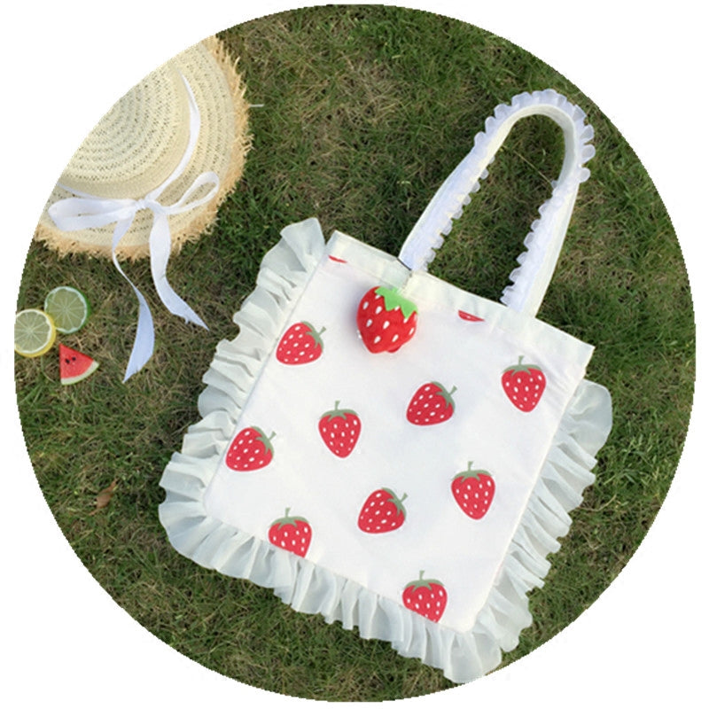 Chic strawberry canvas bag PL50295