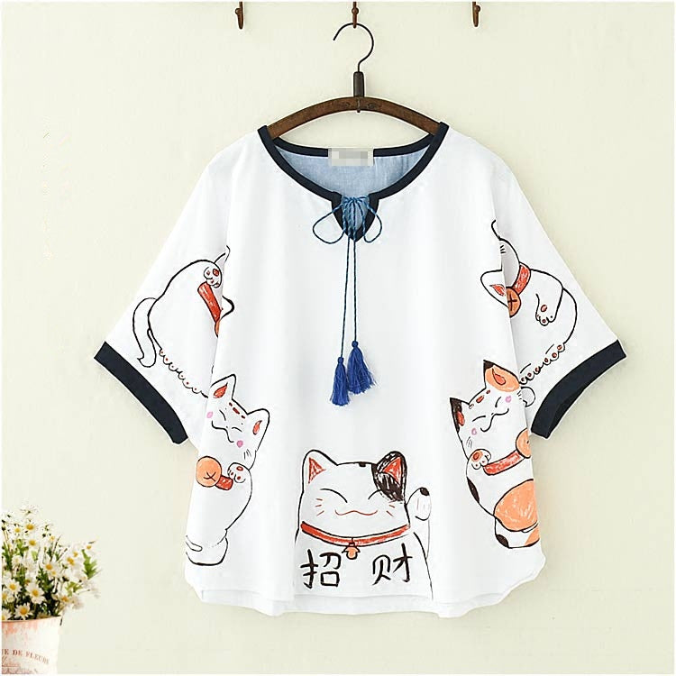Lolita cat print short-sleeved T-shirt    PL20229