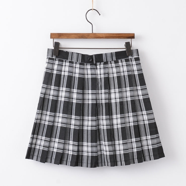 Black and white check pleated skirt PL50206