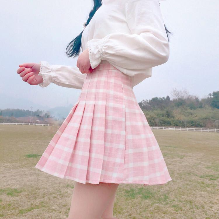 Lolita high waist plaid skirt  PL20510