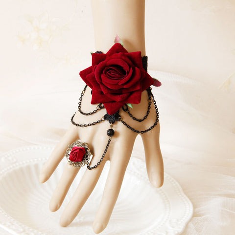 Halloween Red Rose Tassel Bracelet PL20811