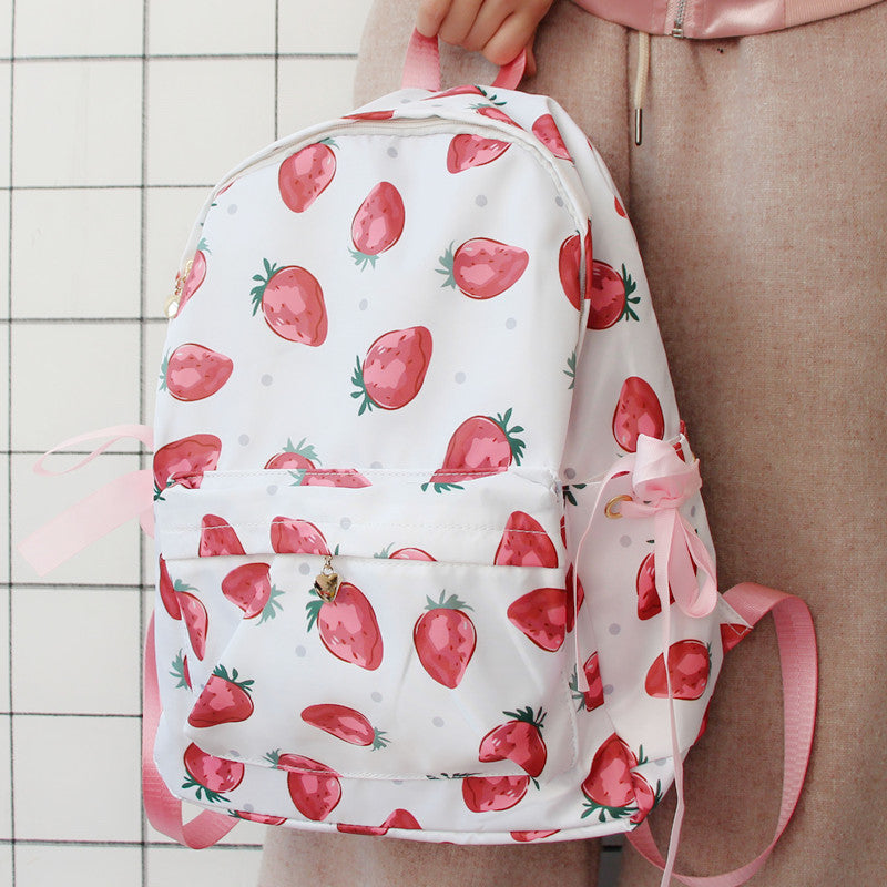 Pastelloves Strawberry Print Backpack PL21151