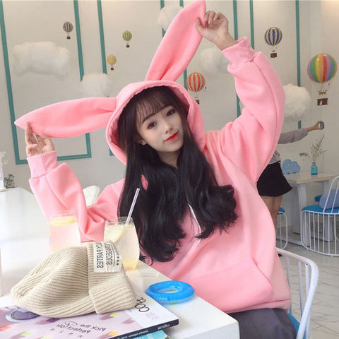 Plus velvet rabbit ears hooded jacket PL20786