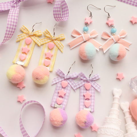 Lolita Two-color hair ball earrings     PL20132