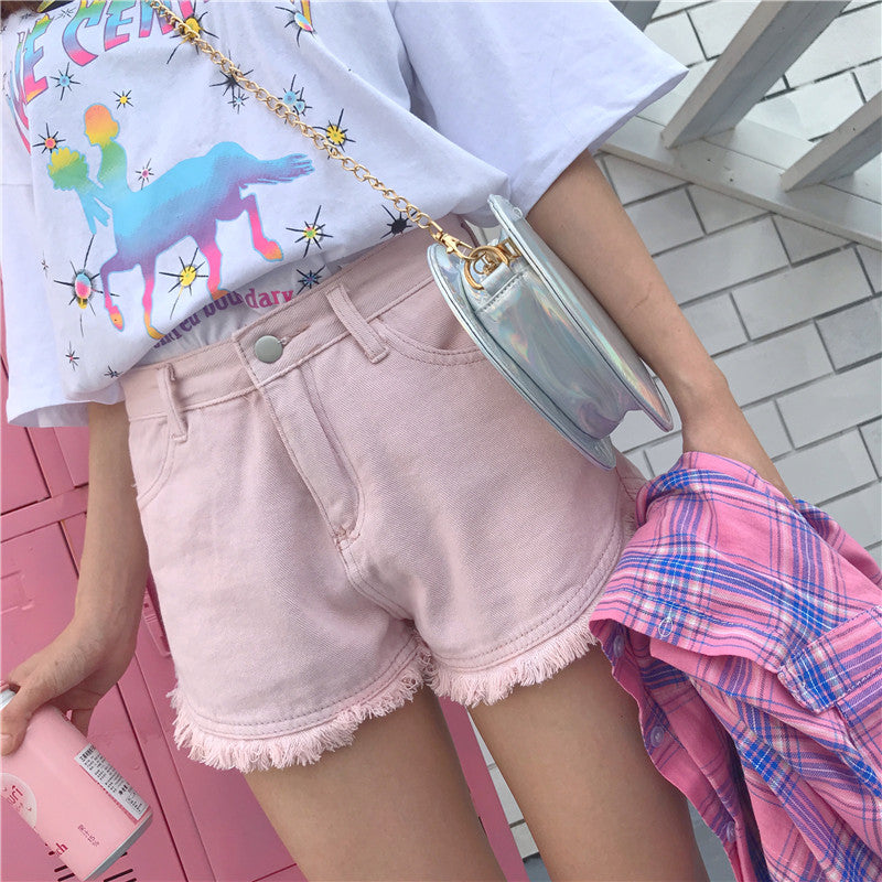 High waist denim shorts PL20471