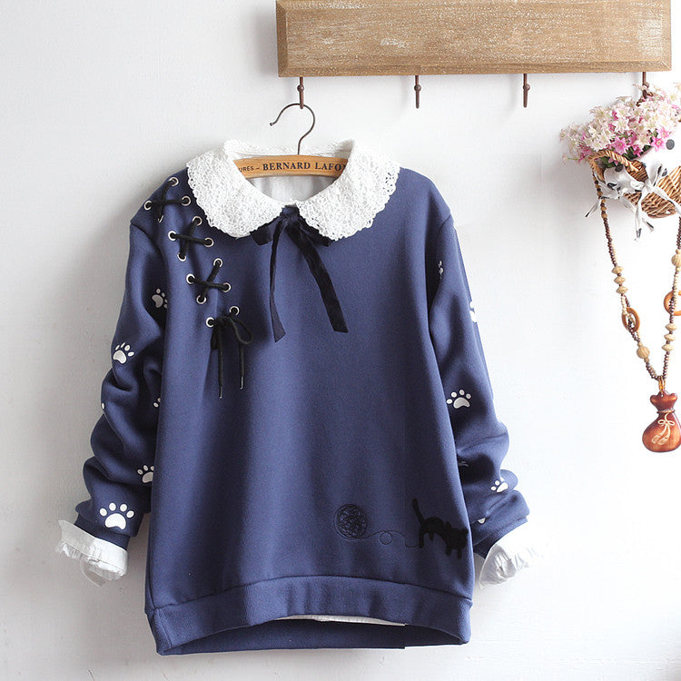 Lace-up cat loose plus velvet sweater + shirt PL20373