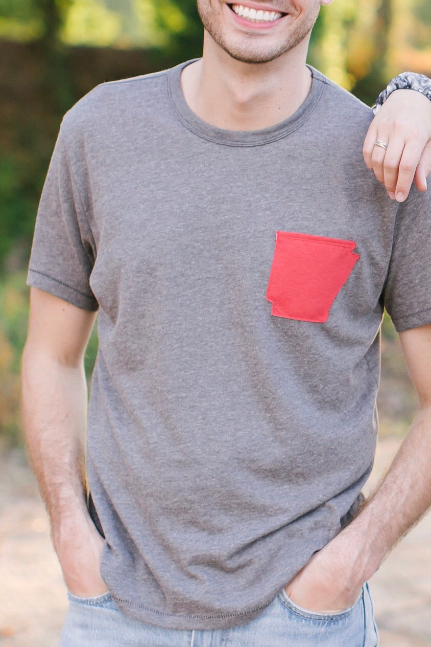 Arkansas Pocket tee shirt Hem and Hollow