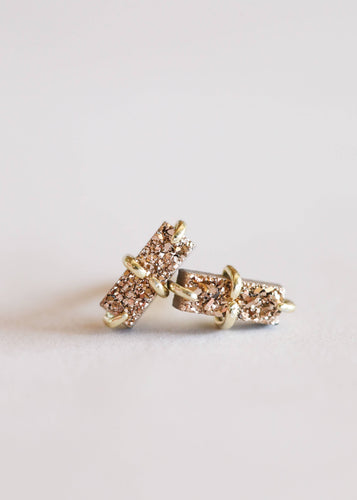 JaxKelly - Rose Gold Druzy Bar Stud