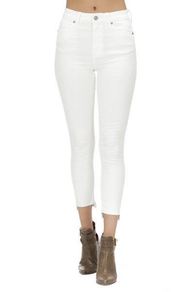 High Rise Skinny Crop White Denim