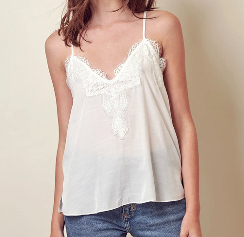 Lace Cross Back White Cami