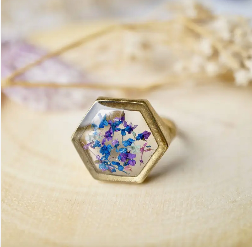 Hexagon Floral Ring in Blue, Purple, and Mint