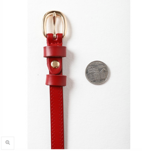 Scallop Skinny Belt in Red + Brown