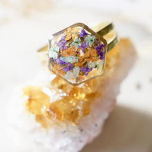 Gold Hexagon in Purple, Orange & Baby Blue Real Pressed Flowers in Resin Ring
