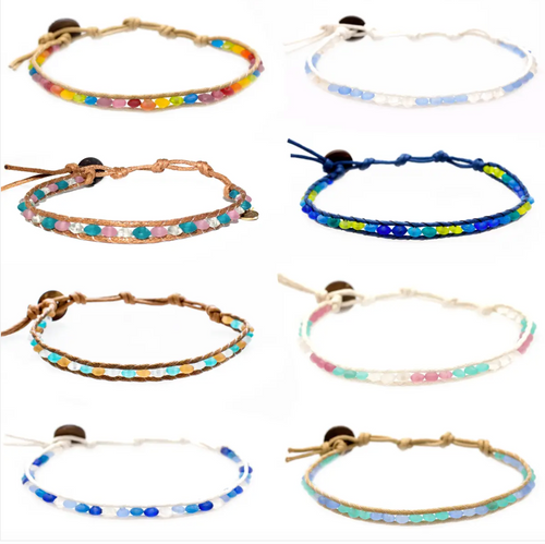 Lotus + Luna Sea Glass Anklets - Assorted