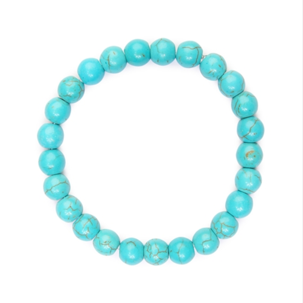 Turquoise Natural Bead Stretch Bracelet