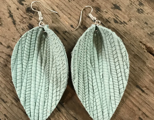 Palm Leaf Textured Leather Earring - Various Colors