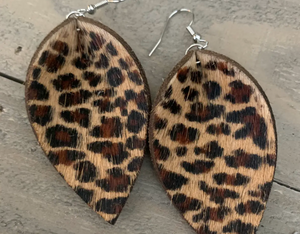 Leopard Hair On Leather Earrings