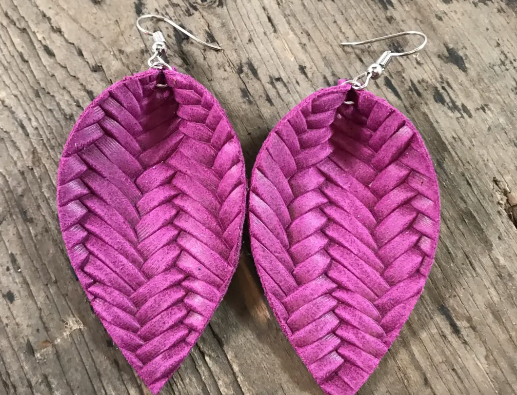 Magenta Textured Leather Earring - Small