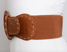 Distressed Look Wide Stitch Belt - Black / Brown