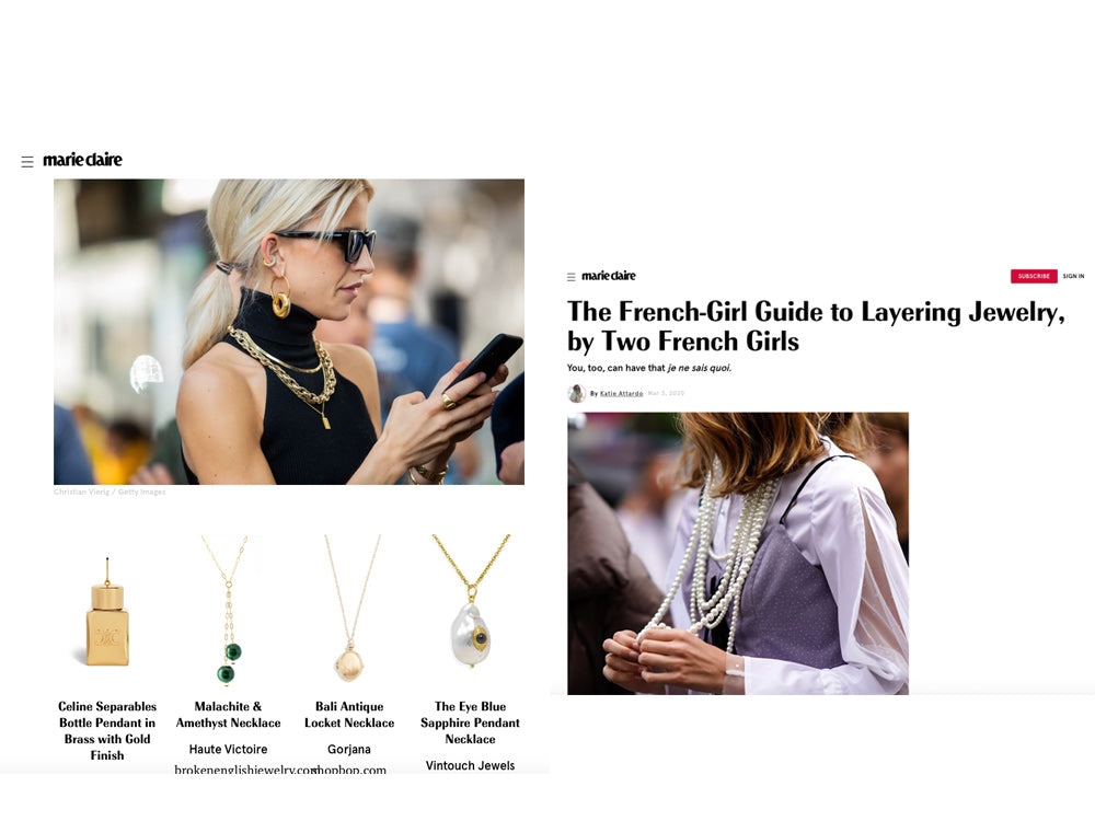 Vintouch Jewelry featured in Marie Claire Magazine